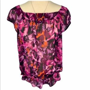 a.n.a Ruched Waist Pink Blouse Floral Large